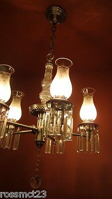 Vintage Lighting antique 1940s pewter crystal chandelier   Rare Very Beautiful 2