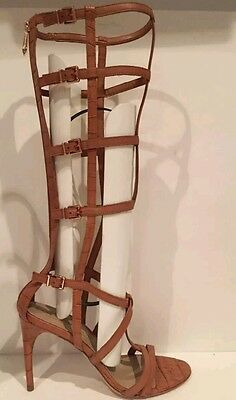 3fbc51730bd5 ... New BCBG Maxazria Gladiator Sandals boot cage hills camel 7 shoes  leather 4