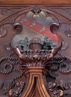 A Monumental Gothic Style Carved Walnut & Polychrome Decorated Fireplace 9