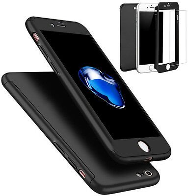 Coque Etui + Verre Trempe Protection Integrale 360 iPhone 6 6S 7 8 Plus X 5S SE 9