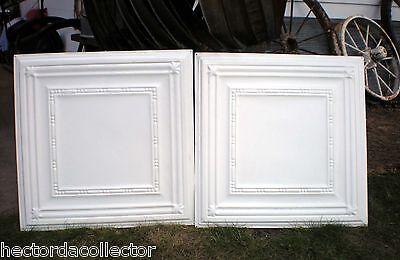 SALE Vintage Ceiling Tin Tile Elegant Fleur De Li Framed Canvas Shabby Chic 3