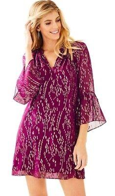 920a20aae86 ... NWT Lilly Pulitzer Matilda Silk Metallic Tunic Dress Fish Clip Chiffon  Shiraz XS 10