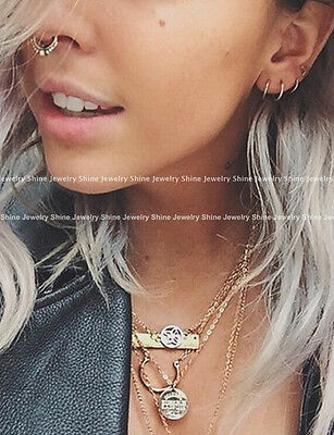 8 - 18mm Fake Piercing Hoop Ring Spring Clip On Lip Nose Septum Ear Earrings 1PC 7