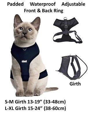 Cat Harness Pink Black Blue Yellow Red Waterproof Padded Adjustable  S M L EX L 5