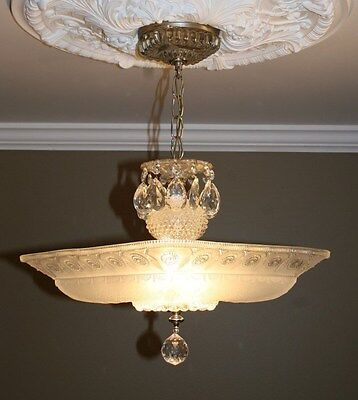 Antique large square frosted glass art deco custom light fixture chandelier 5