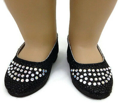 Black Glitter Flats w//Rhinestones Shoes fits 18 inch American Girl Doll Clothes