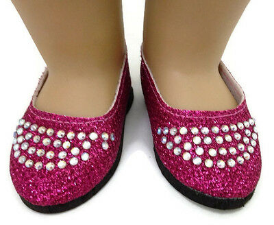 Pink Glitter Flats w//Rhinestones Shoes fits 18 inch American Girl Doll Clothes