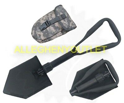 MINT US Army Military AMES Entrenching Folding E-Tool Shovel & Used ACU Cover 2