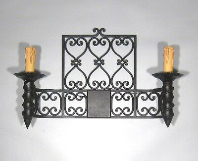 "Large Vintage French Wrought Iron Sconce, ""Chateau"" Style, 19 x 13 inches 4"