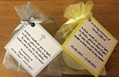 Personalised candle favour memorial funeral keepsake -memory bereavement loss 8
