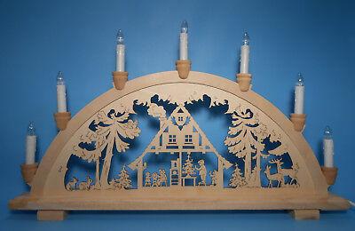 LED Schwibbogen Spitze Ecke aus Holz 7 Lampen natur erzgebirgische Tradition