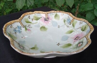 ANTIQUE EARLY Hand Painted MORIAGE Japanese PORCELAIN BOWL MADE IN JAPAN 12