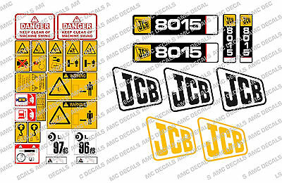 jcb 8015 8017 mini digger complete chrome decal set with safty