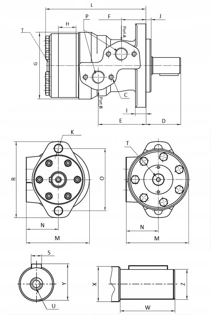 Hydraulic Orbital Motors Type OMP OMR SMR BMR 32 - 400 Like Danfoss 25 mm shaft 4