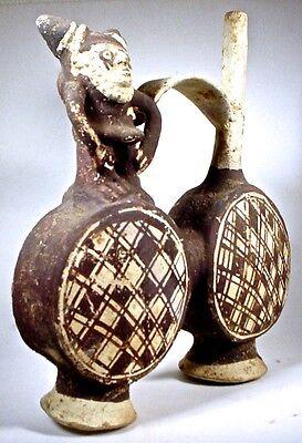 Pre-Columbian CHANCAY TWO-DRUM FIGURAL VESSEL PERU COA 2