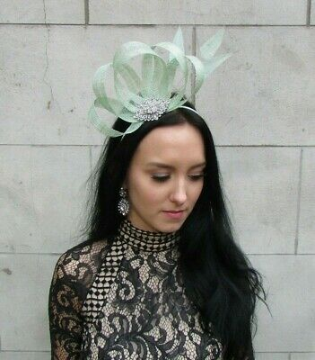 Mint Green Silver Fascinator Feather Sinamay Hair Races Wedding Cocktail 7484 2