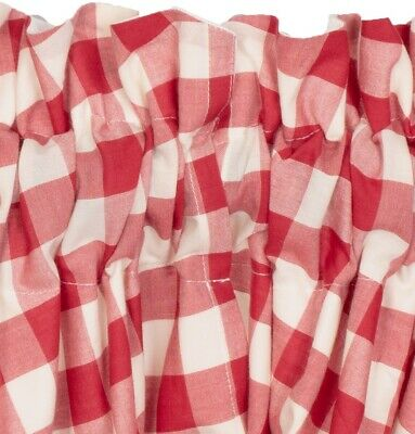 "60"" W Red & White Buffalo Check Balloon Window Valance Country Farmhouse Annie 4"