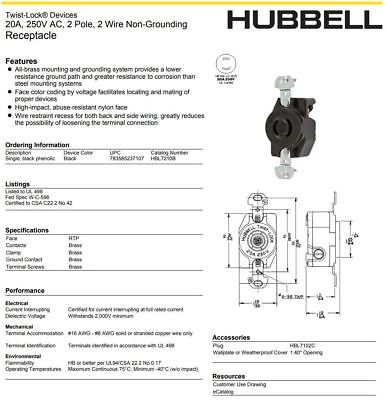 Electrical Outlets Hubbell Hbl 2520a 20a 277 480v 3oy Twist Lock Receptacle L22 20r New Business Industrial Karmickproduction Com