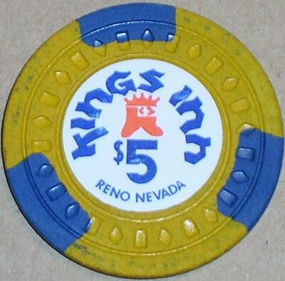 Old $5 KINGS INN Casino Poker Chip Vintage Antique Diamond Square Mold Reno NV 2