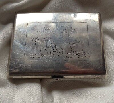 Chinese Antique Handmade Sterling Silver Cigar Box House Tree Relief Stamp Seal 6