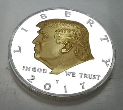 Donald Trump Silver & Gold Dollar City Coin President of the United States Man 3