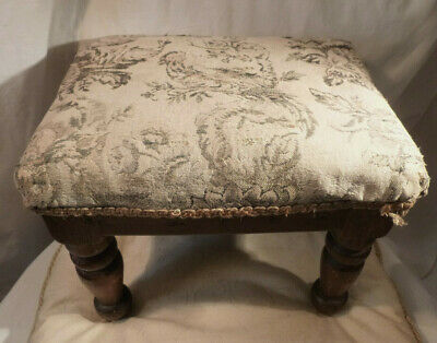 "Antique Mahogany Foot Stool Turned Legs & Upholstered Seat 12.5"" x 9.25"" 12"