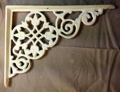 SET of 4 ANTIQUE WHITE VICTORIAN FLORAL STYLE CAST IRON BRACE / BRACKET 3