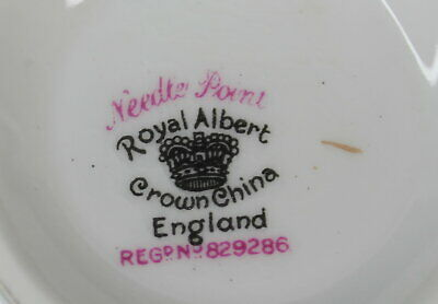 Royal Albert Needle Point Mini Open Sugar Bowl Crafted in England Vintage 4
