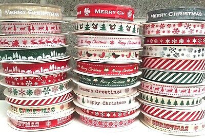 Happy Merry Christmas Ribbons Snowflakes Ribbon Gift Wrapping  1 , 3 or 5 Metres 7