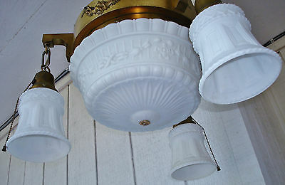 Salvaged Elegant Antique Colonial Revival 4 Bulbs Ceiling Lamp Chandelier 6