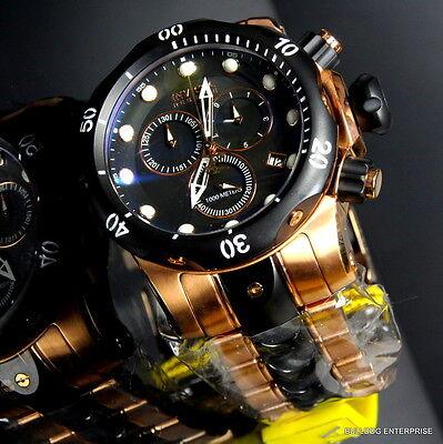 Mens Invicta Reserve Venom Rose Gold Tone Chronograph Swiss Made Black Watch New 2