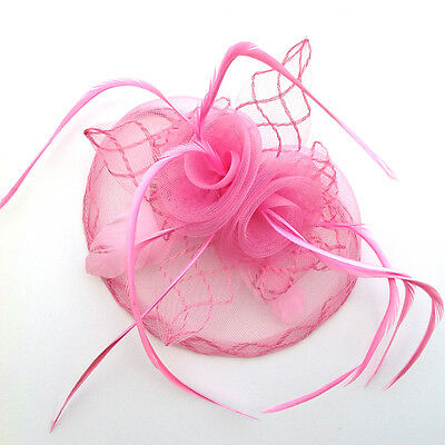 New Womens Flower Feather Fascinator Hat Clip Hair Xmas Race Party Wear UK 4