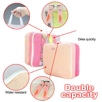 5pcs Travel Organizer Packing Cube Pouch Suitcase Clothes Storage Bags Luggage 8