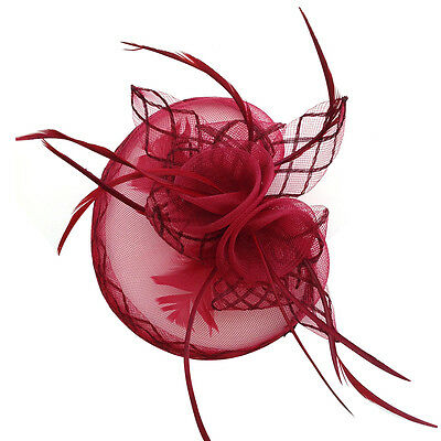 New Womens Flower Feather Fascinator Hat Clip Hair Xmas Race Party Wear UK 5