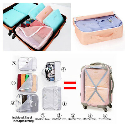 5pcs Travel Organizer Packing Cube Pouch Suitcase Clothes Storage Bags Luggage 5