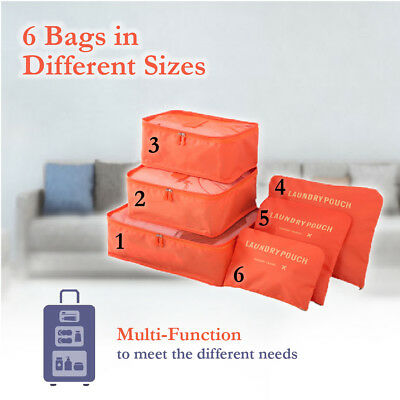 6 Pcs Clothes Underwear Socks Packing Cube Storage Travel Luggage Organizer Bag 3