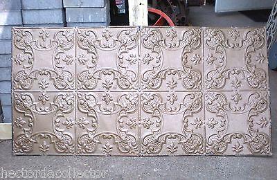 Sale Antique Victorian Nouveau Ceiling Tin Tile Trefoil Fleur de Li Shabby Chic