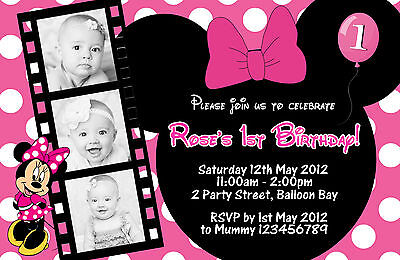 Personalised Minnie Mouse Birthday Invitations 1st 2nd 3rd 4t Kids Photo Invites 2