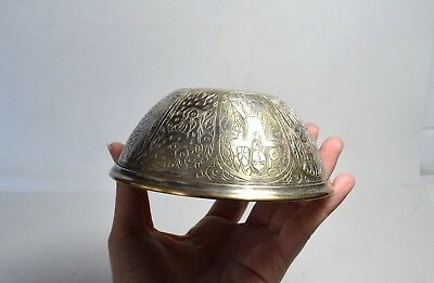 Antique Vintage Ottoman Bowl Turkish Bowl Metal Engraved with pattern all around 4