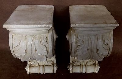 Pair Antique Finish Shelf Acanthus leaf Wall Corbel Sconce Bracket Vintage 4
