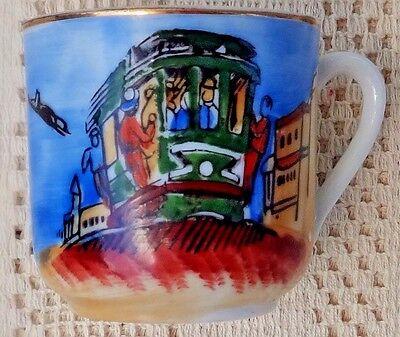 Vintage Souvenir Hand Painted Porcelain Cup & Saucer - San Francisco Cable Car 6