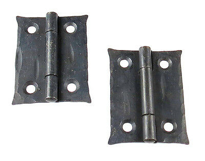 "2 Handmade 2"" Butt Door Wrought Iron Hinges Antique Cabinet Cupboard Box Decor 5"