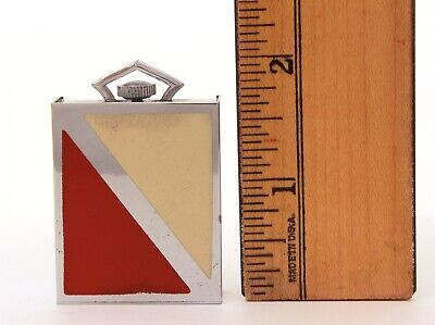 Art Deco Folding Travel Clock Red & Cream Enamel PART & REPAIR 8