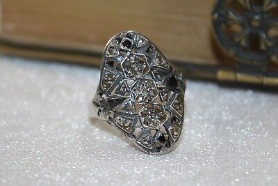 ART DECO vintage STERLING Silver MARCASITE Ring  7 1/2 3
