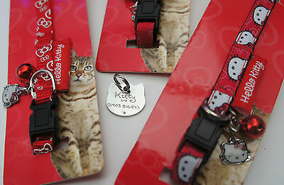 Hello Kitty Cat Collars With Engraved Cat Face Tag, Bell & Hello Kitty Charm 3