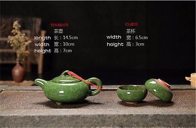 Ice crack glaze ceramic kung fu tea set service,Amethyst teapot 6 Colourful cup 2