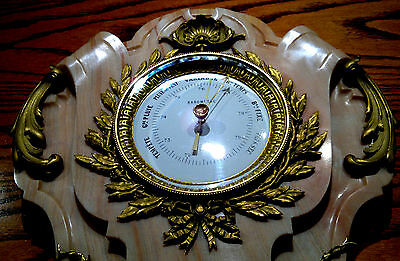 """Antique French Louis XVI Style Ormolu Pink Marble Wall Barometer 24.5""""Tall 4"""