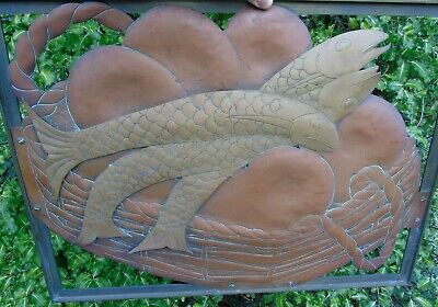 Arts And Crafts Copper Brass Bronze Cut Out Panel 3 Fish Basket Picture Plaque 9