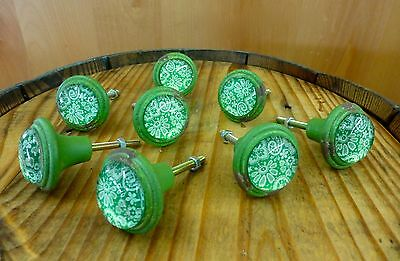 8 GREEN-WHITE LACE GLASS DRAWER CABINET PULLS KNOBS VINTAGE DISTRESSED hardware 2