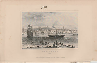 1846 Six Antique Prints- KENT -Dartford, Dover, Northfleet, Gravesend, Penshurst 3